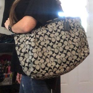 Large black and gray coach purse